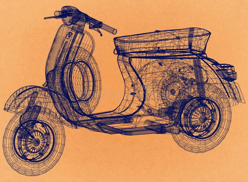 Retro arkitekt Blueprint för sparkcykel vektor illustrationer