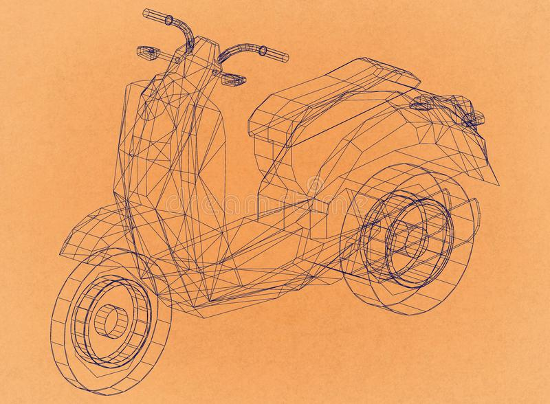 Retro arkitekt Blueprint för sparkcykel stock illustrationer
