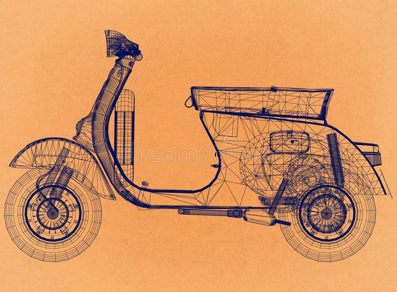 Retro arkitekt Blueprint för sparkcykel royaltyfri illustrationer
