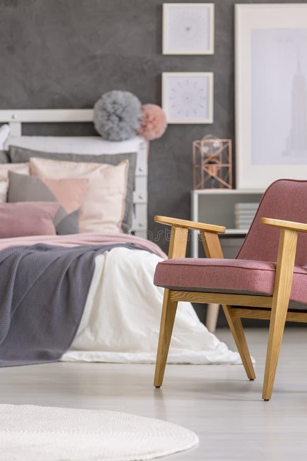Download Retro Armchair In Girly Bedroom Stock Photo