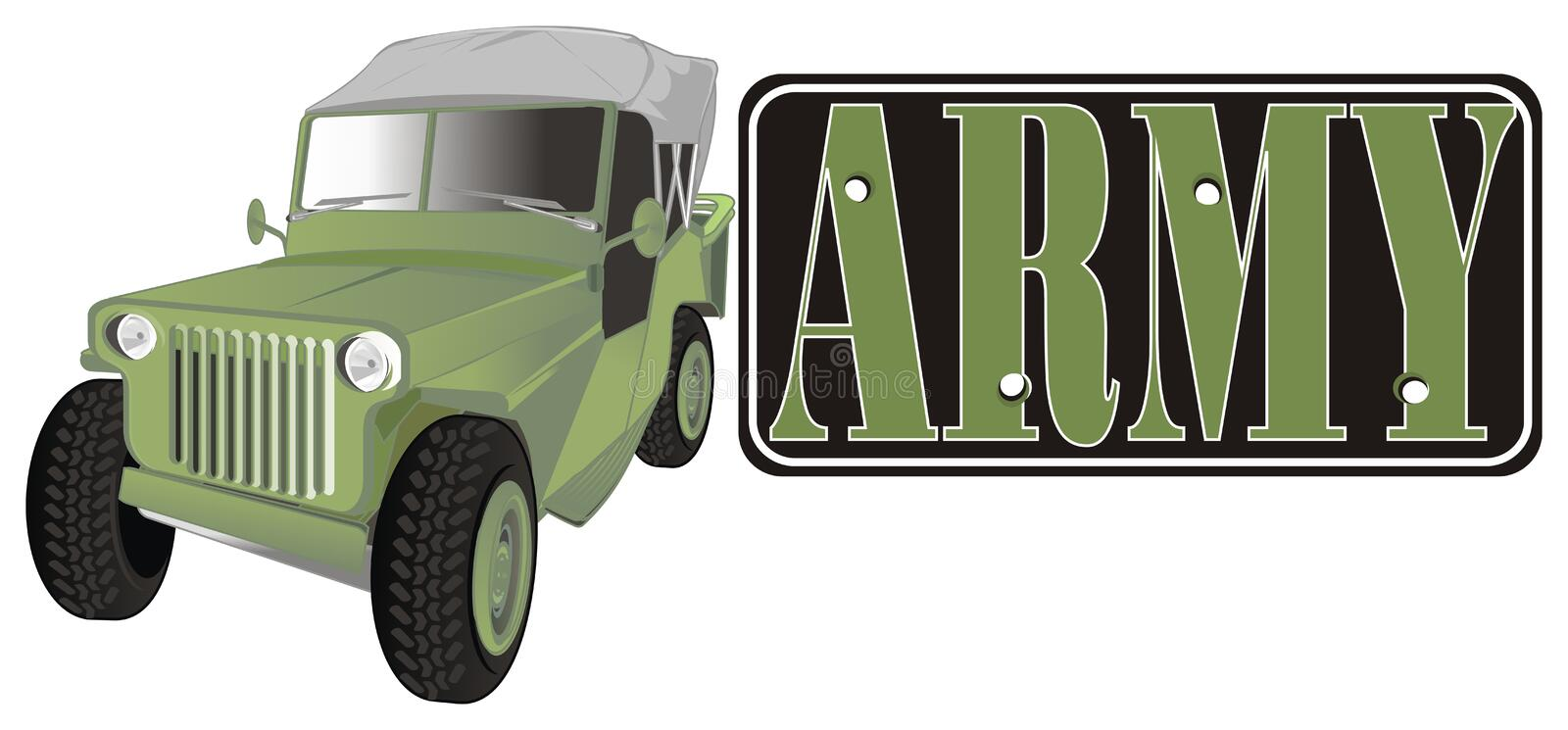Army car and banner vector illustration