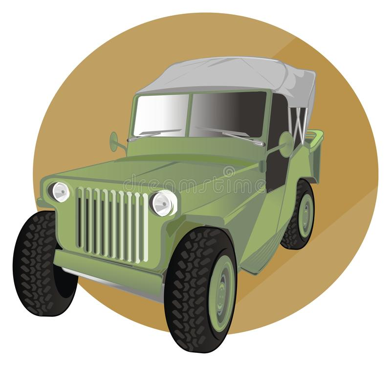 Army car and round sign stock illustration