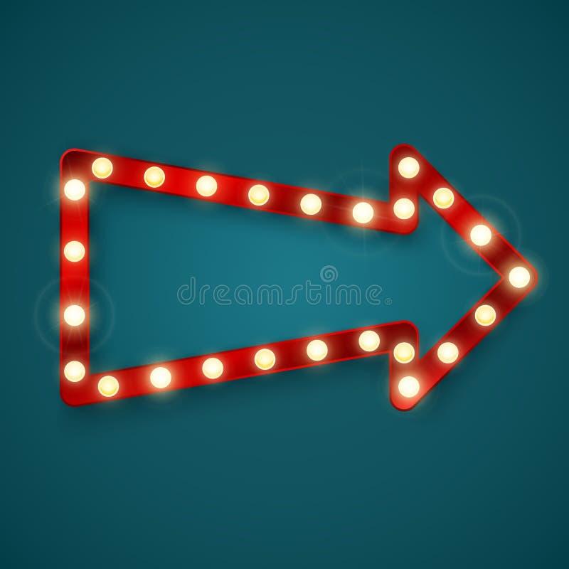 Retro arrow banner. Advertising sign in casino. Vector illustration royalty free illustration