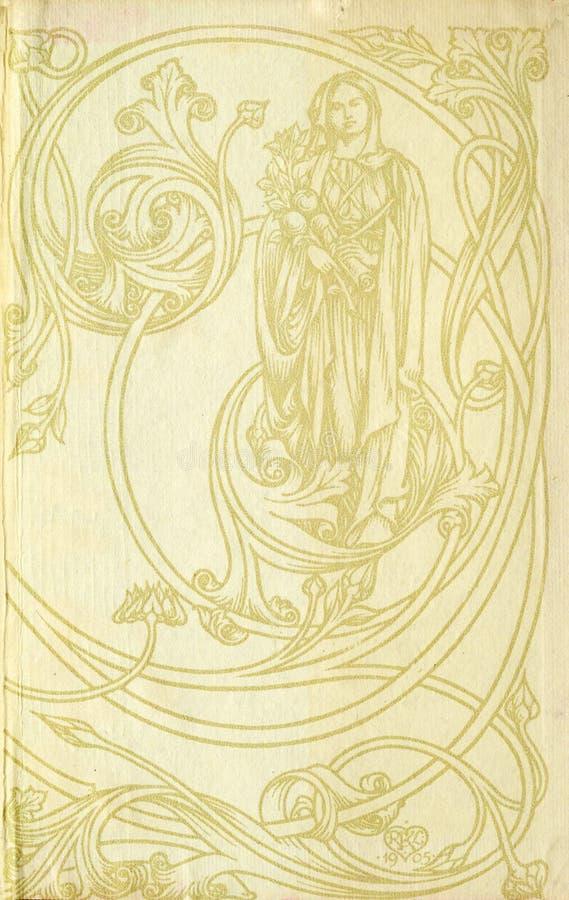 Retro- Art gestalten Sie Blumenverzierung auf den Seiten von alten Büchern lizenzfreie abbildung