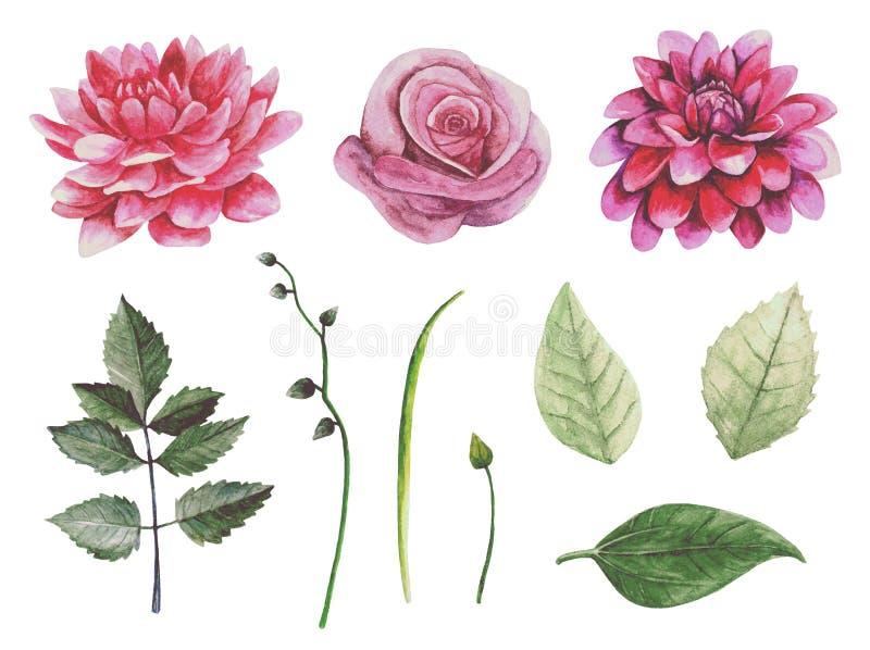 Retro art. van de bloemen vectorklem royalty-vrije illustratie