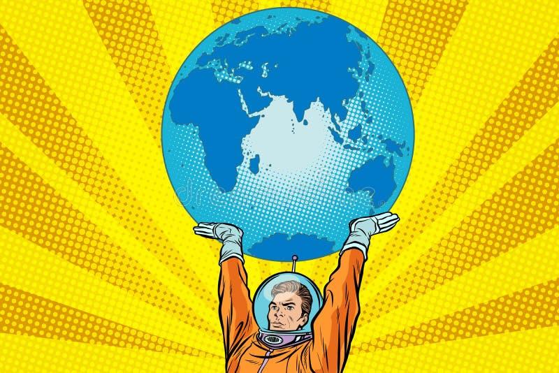 Retro astronaut houdt de aarde stock illustratie