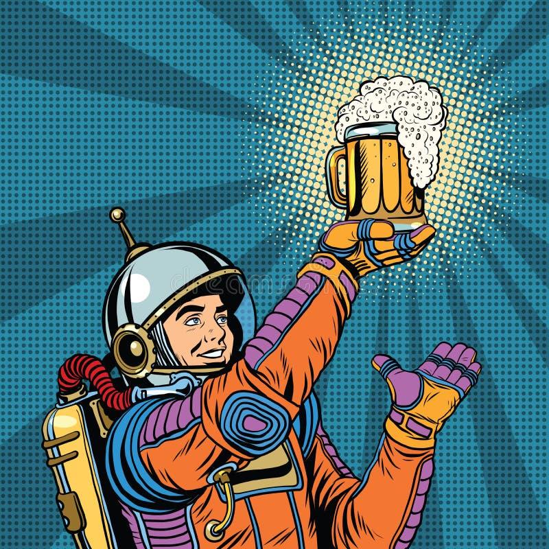Retro astronauta i kubek piwo ilustracja wektor