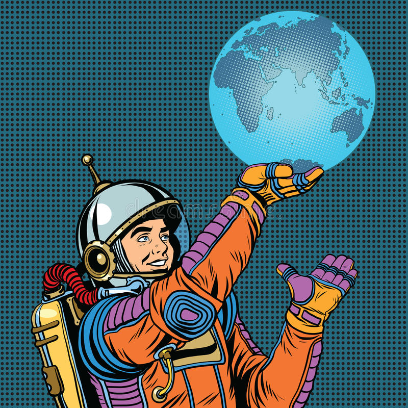 Retro astronauta trzyma planety ziemię na ręce ilustracji