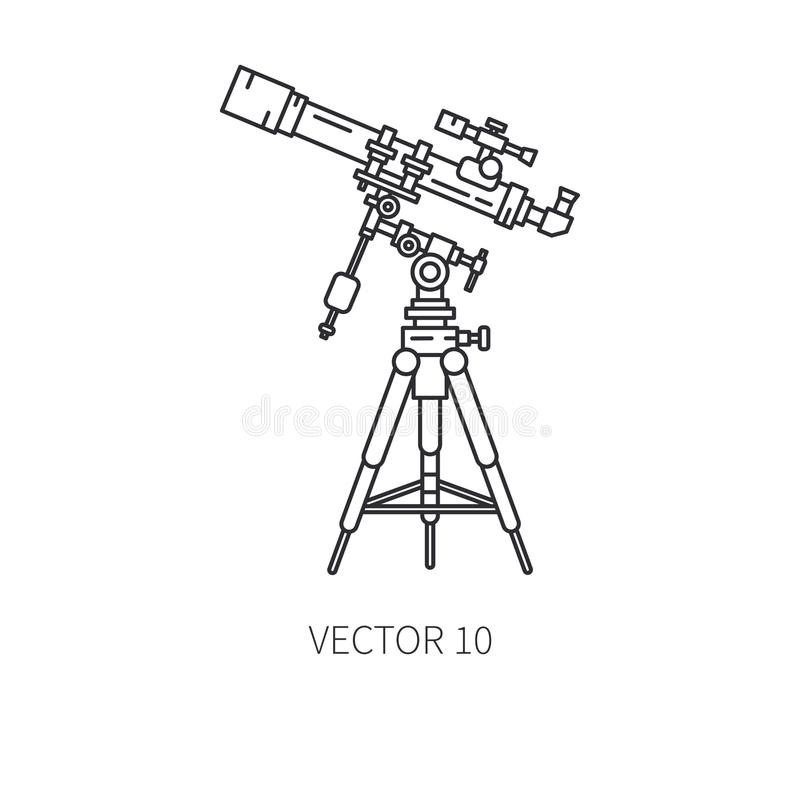 Retro astronomy lens telescope vector line icon. Summer travel vacation, tourism, camping. 1960s style. Starry night sky vector illustration
