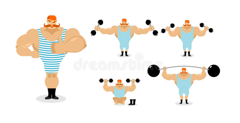 Retro- Athletensatzhaltungen Alter Bodybuilder mit rotem Schnurrbart e stock abbildung