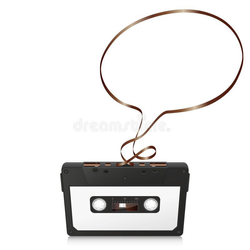 Retro Audio Cassette with Abstract Curved Tape - Speech Bubble stock image