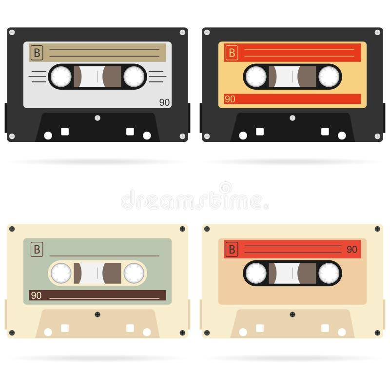 Retro audio cassette, a set of retro audio cassettes. A realistic audio cassette. royalty free illustration