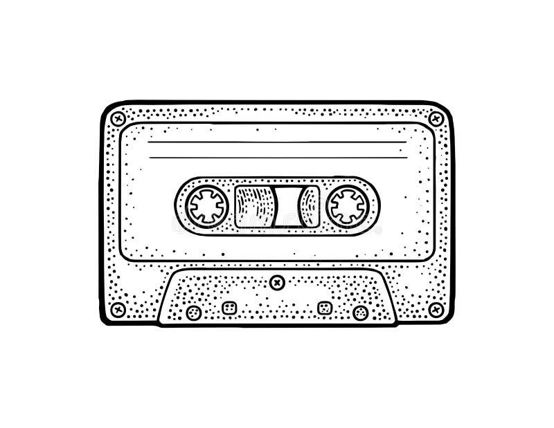 Retro audio cassette. Vintage vector black engraving illustration. For poster, web. Isolated on white background. Hand drawn design element stock illustration