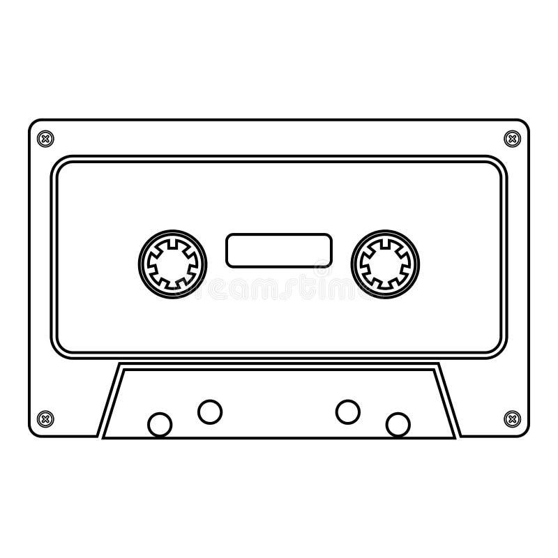 Retro audio kasety ikony czerni koloru ilustraci mieszkania stylu prosty wizerunek ilustracja wektor