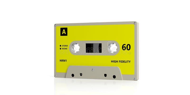 Retro audio nastro a cassetta con l'etichetta gialla isolata su fondo bianco illustrazione 3D illustrazione di stock