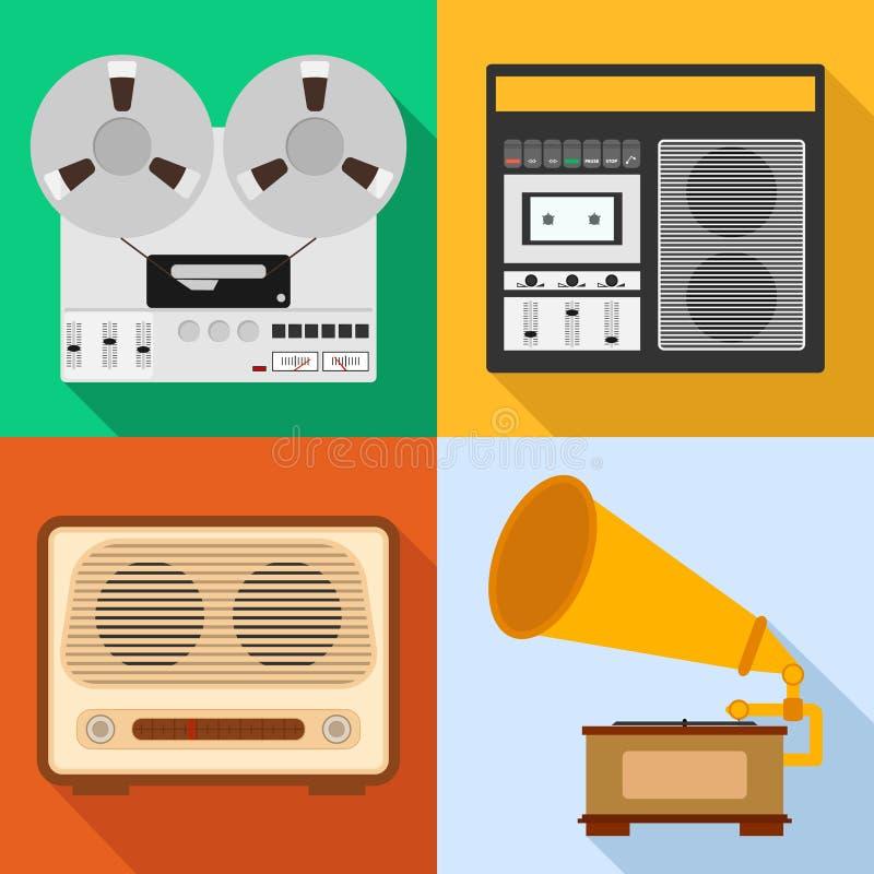 Retro audio technika Set stary audio wyposażenie Grammafon, taśma pisak, radio royalty ilustracja