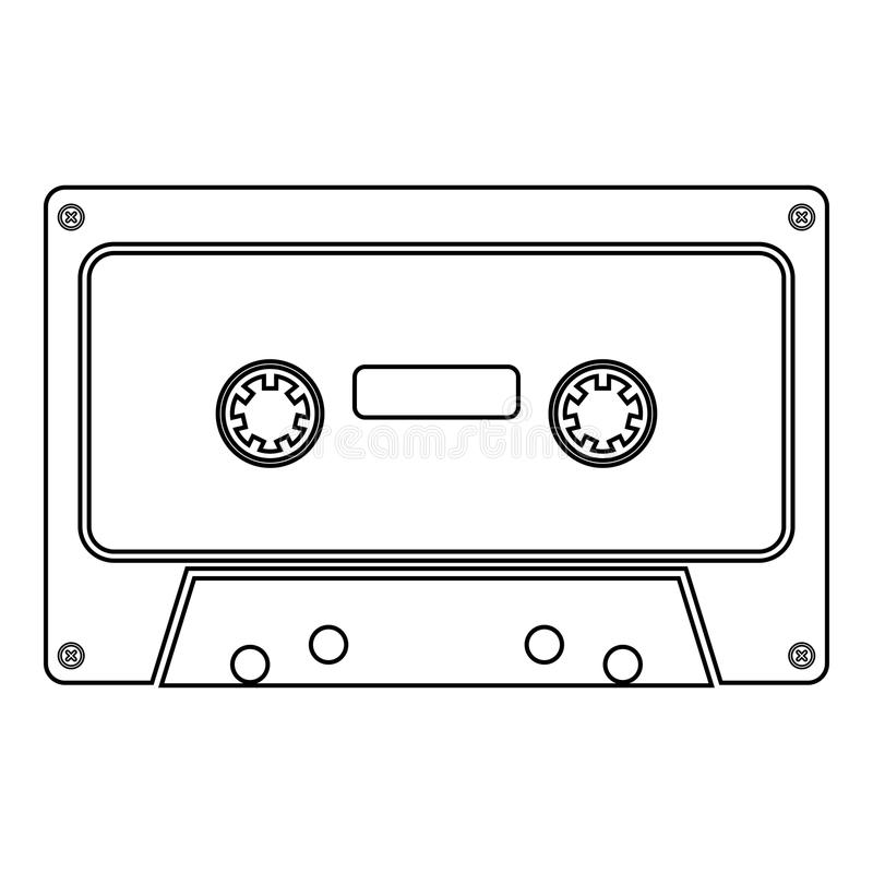Retro audio van de de kleurenillustratie van het cassettepictogram zwart vlak de stijl eenvoudig beeld vector illustratie