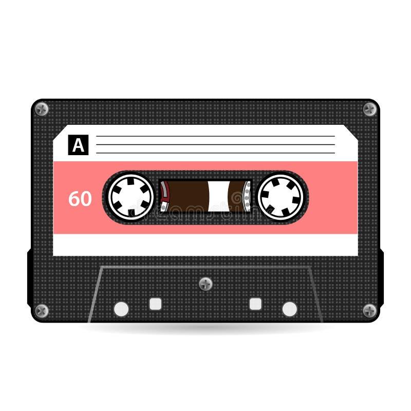 Retro Audiocassettevector Plastic Audiocassetteband Oude Technologie, Realistische Ontwerpillustratie Geïsoleerd op witte backgro stock illustratie
