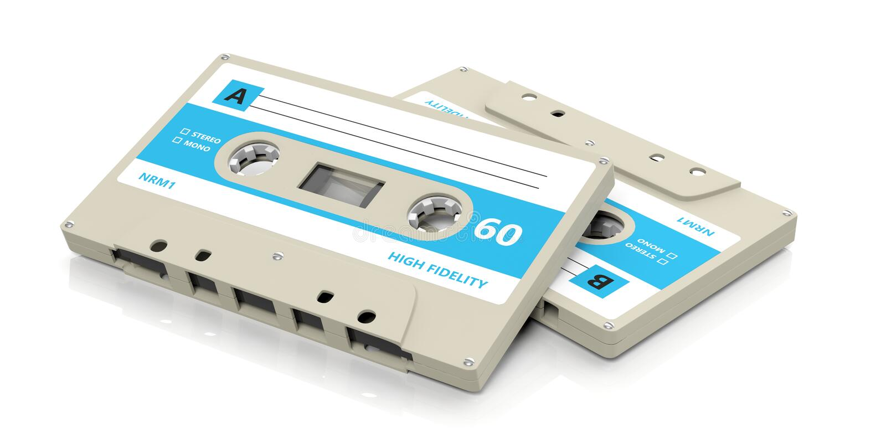 Retro- Audiokassetten mit dem blauen Aufkleber lokalisiert auf weißem Hintergrund Abbildung 3D vektor abbildung
