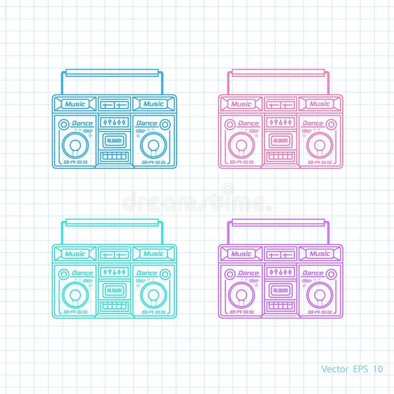 Retro- Audiosatz Gemaltes Tonbandgerät stock abbildung