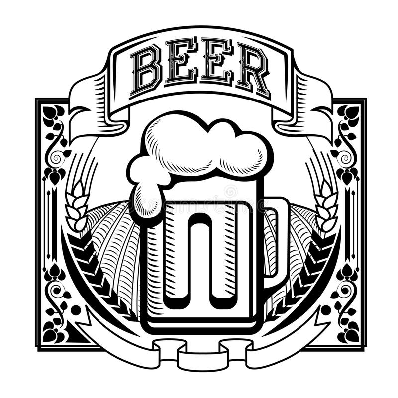 Retro- Aufkleber des Bieres oder der Brauerei lizenzfreie abbildung