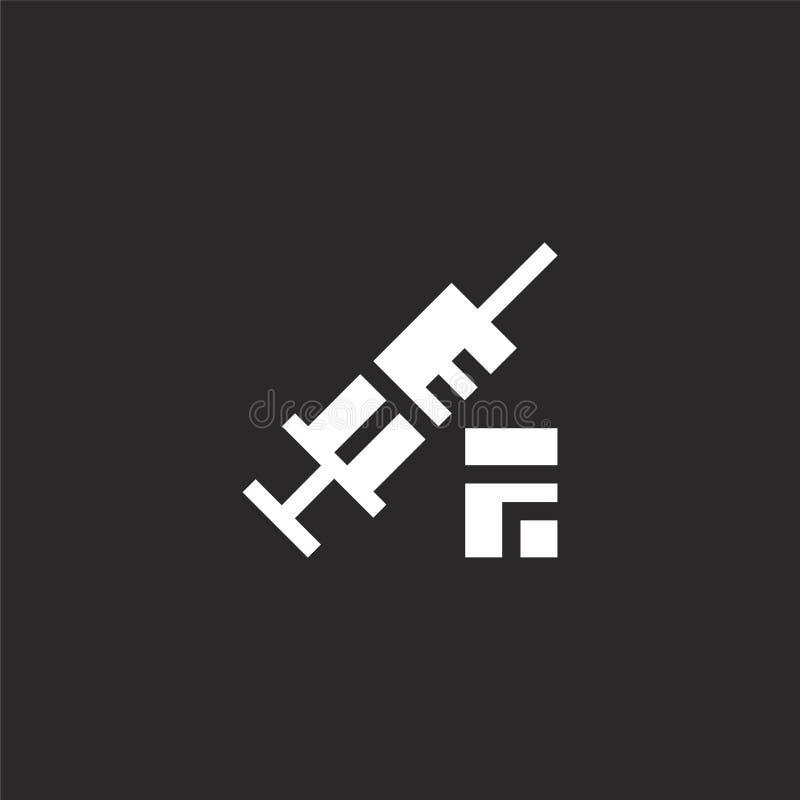 Retro- Aufkleberdesign Gefüllte Spritzenikone für Websiteentwurf und Mobile, Appentwicklung Spritzenikone von gefüllter Hundesamm lizenzfreie abbildung