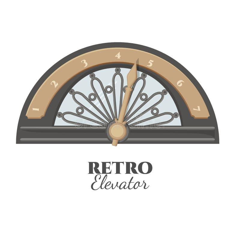 Retro- Aufzugsteil, das Zahl des Bodens zeigt vektor abbildung