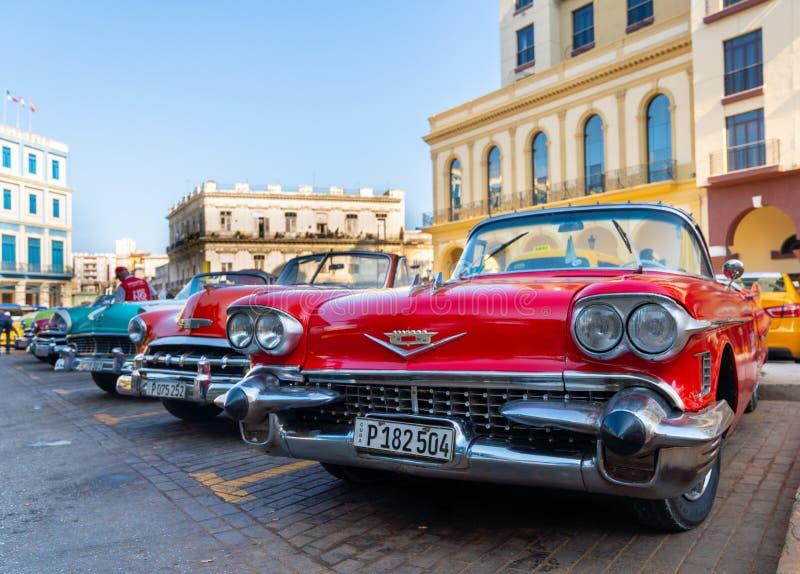 Retro auto als taxi voor toeristen in Havana Cuba royalty-vrije stock fotografie