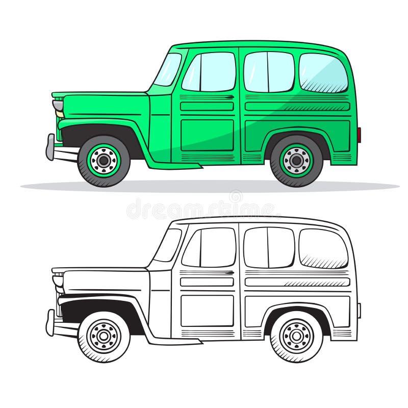 Retro- Auto in der Karikaturart Retro- Auto des Farb- und Schwarzentwurfs Gezeichneter Satz des Oldtimers Hand Grünes Auto lizenzfreie abbildung