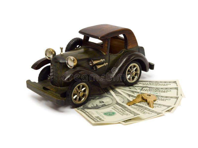 Retro- Auto, Geld und Tasten stockbilder