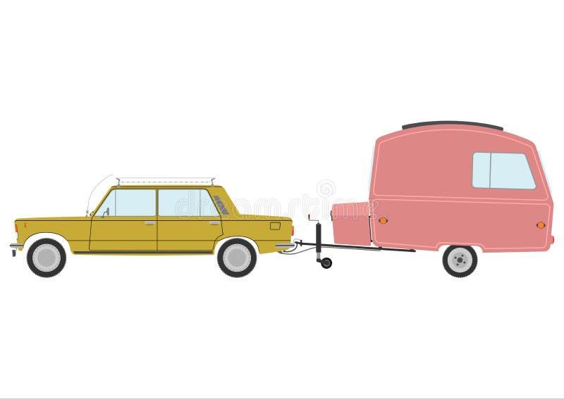 Retro auto met caravan. stock illustratie