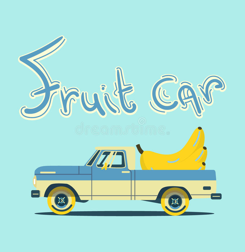 Retro- Auto mit großen Früchten stockfotos