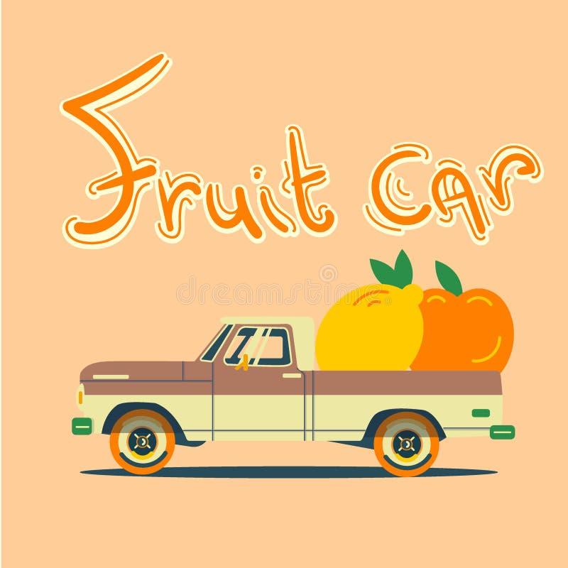 Retro- Auto mit großen Früchten stockfotografie