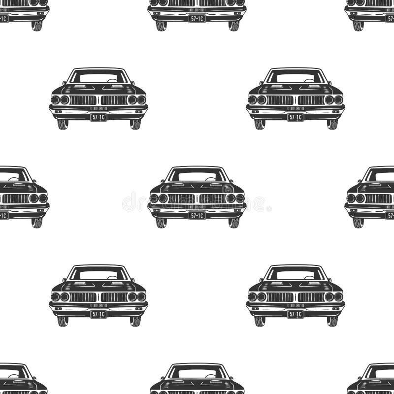 Retro auto sömlöst Bakgrund för tappningbilmodell Automatisk tematapet i konturstil Materielvektor stock illustrationer