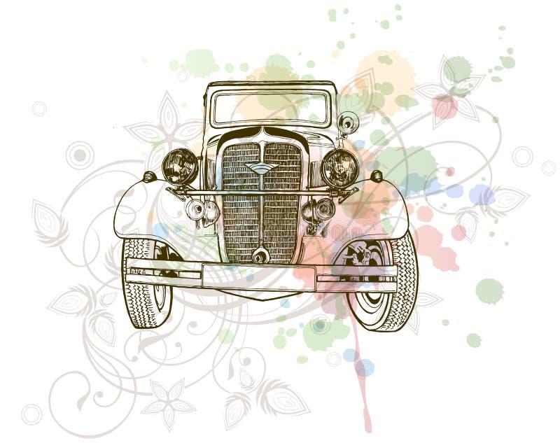 Retro auto sketch & floral ornament vector illustration