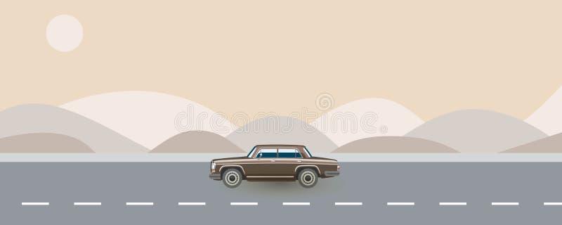Retro auto van de jaren '80 die op weg vectorillustratie reizen Concept van de de zomer het autoreis in zachte kleuren Bruine wij vector illustratie