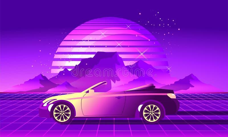 Retro auto van de partijgolf stock illustratie