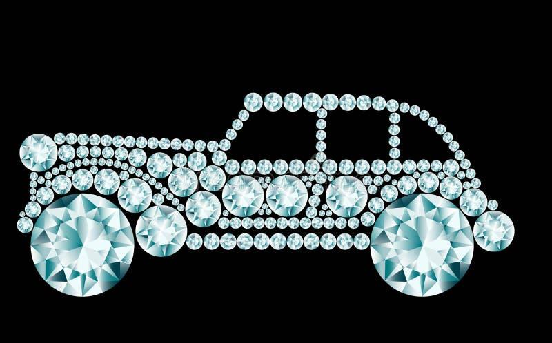 Retro auto van diamanten wordt gemaakt die royalty-vrije illustratie