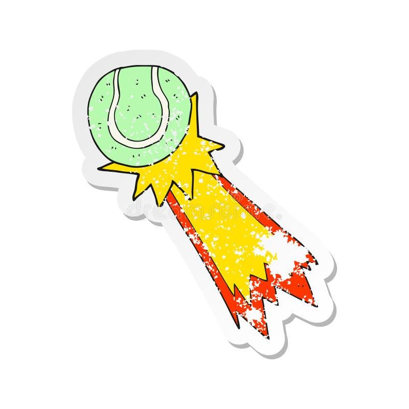 retro autoadesivo afflitto di un servire della pallina da tennis del fumetto illustrazione di stock