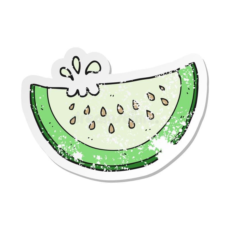 retro autoadesivo afflitto di una fetta del melone del fumetto illustrazione di stock