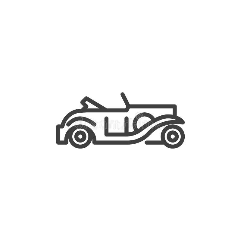 Retro autocabriolet lijnpictogram royalty-vrije illustratie
