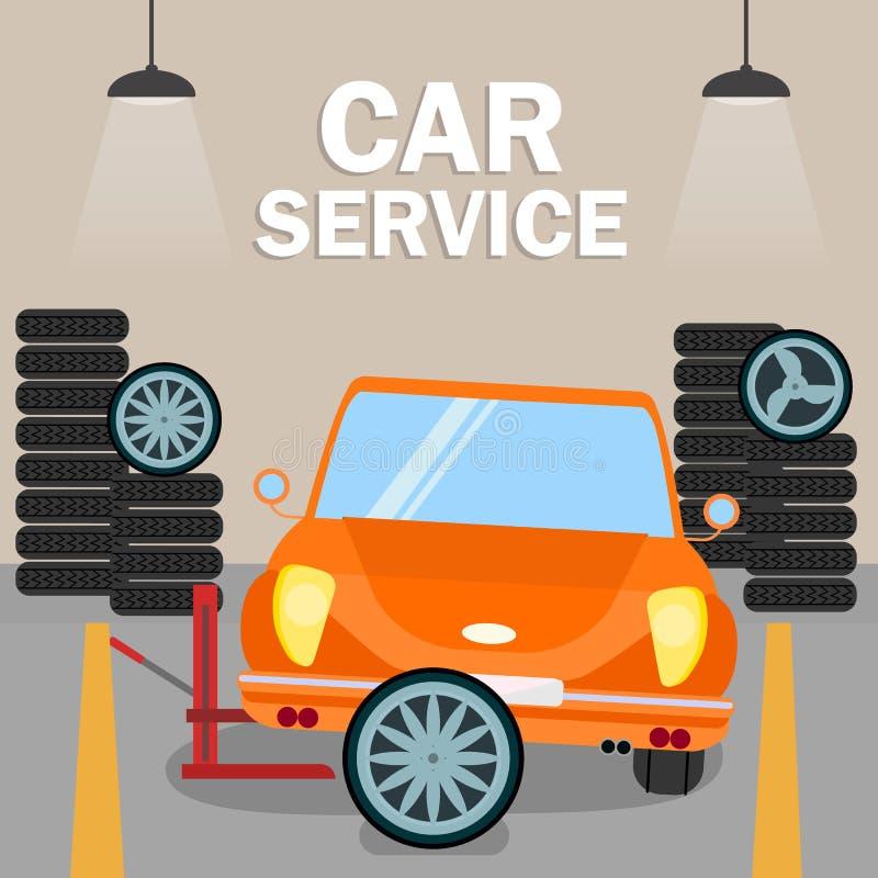 Retro Automobiele Malplaatje van de Vernieuwings Vlakke Banner royalty-vrije illustratie