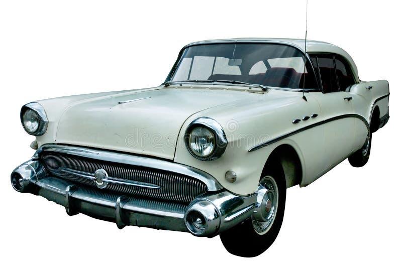 Retro automobile bianca classica isolata fotografia stock libera da diritti