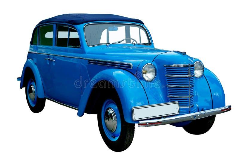 Retro automobile blu classica isolata immagini stock