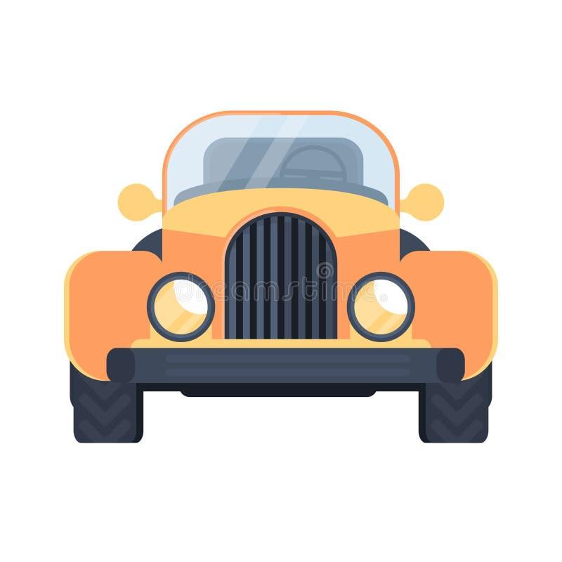 Retro automobile calda della strada Automobile scoperta a due posti dell'americano di vista frontale Illustrazione piana di vetto royalty illustrazione gratis