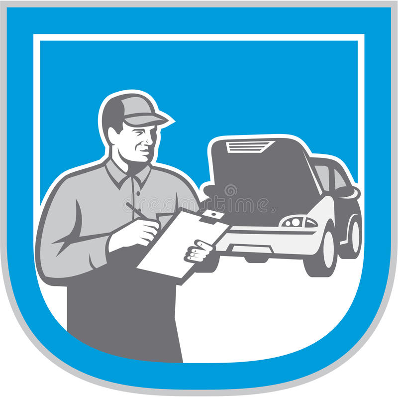 Retro Automobile Car Repair för auto mekaniker kontroll royaltyfri illustrationer