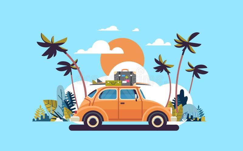 Retro automobile con bagagli sulla spiaggia tropicale di tramonto del tetto che pratica il surfing il piano d'annata del manifest illustrazione vettoriale