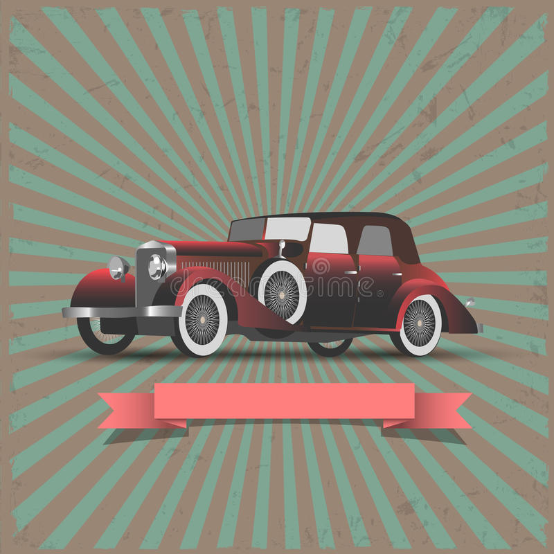 Retro Automobile Con La Nastro-bandiera Fotografie Stock