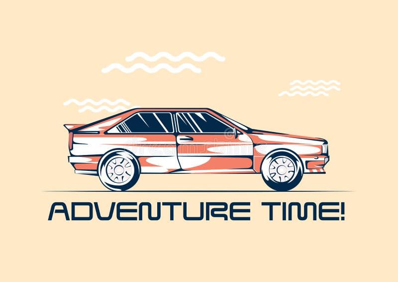 Retro automobile del coupé dal 1980 pronta per un viaggio Concetto di viaggio di divertimento di estate Illustrazione di vettore illustrazione vettoriale