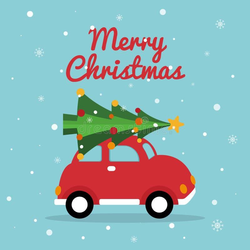 Retro automobile di Natale Il Buon Natale carda con l'automobile rossa, albero luminoso di natale, fiocchi di neve Progettazione  illustrazione di stock